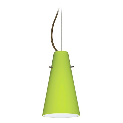 Besa Lighting Besa Lighting Cierro Bronze LED Mini-Pendant Light with Conical Shade 1KX-412435-LED-BR