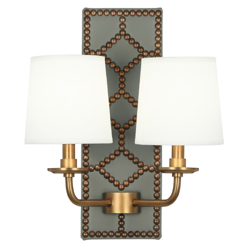 Robert Abbey Lighting Robert Abbey Lighting Williamsburg Lightfoot Wall Sconce with Fondine Fabric Shades 1034