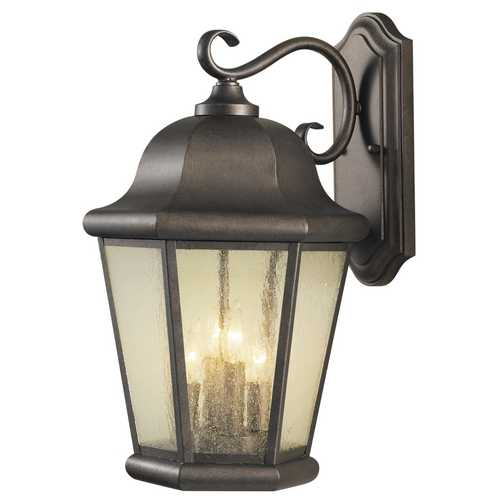 Feiss Lighting Outdoor Wall Light with Clear Glass in Corinthian Bronze Finish OL5904CB