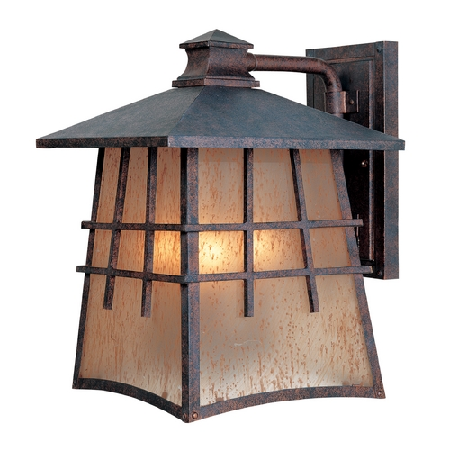 Designers Fountain Lighting Outdoor Wall Light with Amber Glass in Mediterranean Patina Finish 30711-MP
