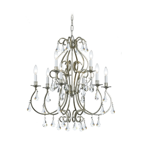 Crystorama Lighting Crystal Chandelier in Old Silver Finish 5019-OS-CL-MWP