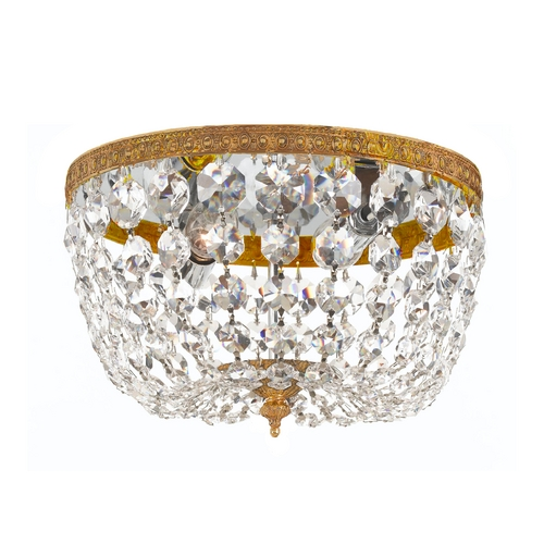 Crystorama Lighting Crystal Flushmount Light in Olde Brass Finish 708-OB-CL-MWP