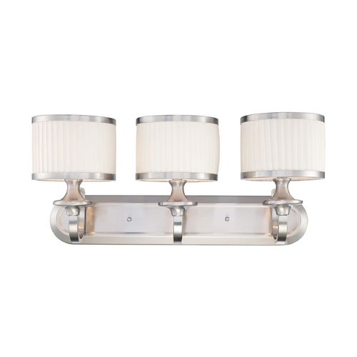 Nuvo Lighting Modern Bathroom Light with White Shades in Brushed Nickel Finish 60/4733