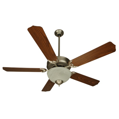 Craftmade Lighting 52-Inch Brushed Nickel Ceiling Fan with Light and Walnut Blades CDU201BN-CFL/BCD52WB6