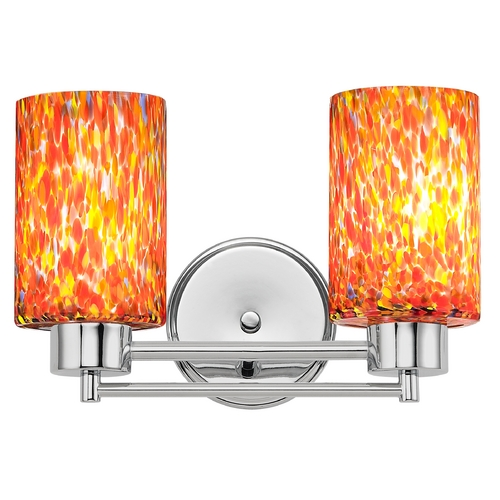 Design Classics Lighting Modern Bathroom Light with Art Glass in Chrome Finish 702-26 GL1012C