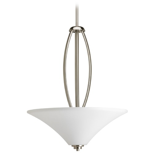 Progress Lighting Progress Pendant Light with White Glass in Brushed Nickel Finish P3951-09