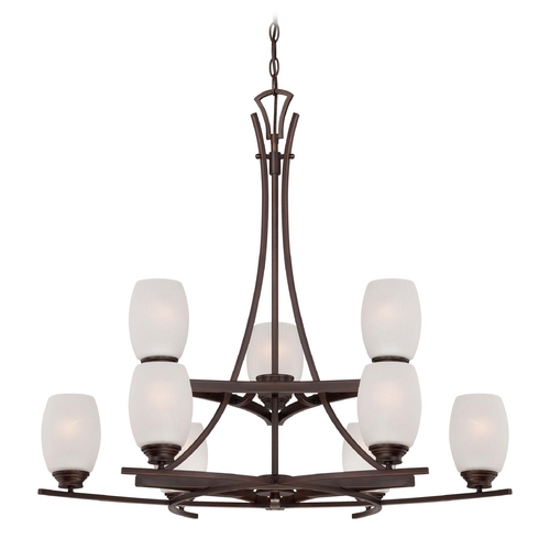 Minka Lavery Chandelier with White Glass in Dark Brushed Bronze Finish 4959-267B
