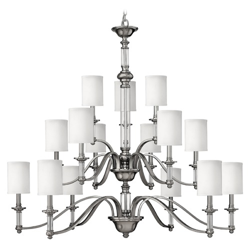 Hinkley Lighting Chandelier with Beige / Cream Shades in Brushed Nickel Finish 4799BN