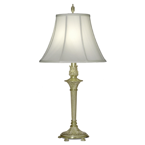 Stiffel Lighting Table Lamp with White Shade in Satin Brass White Antique Finish TL-A824-SBW