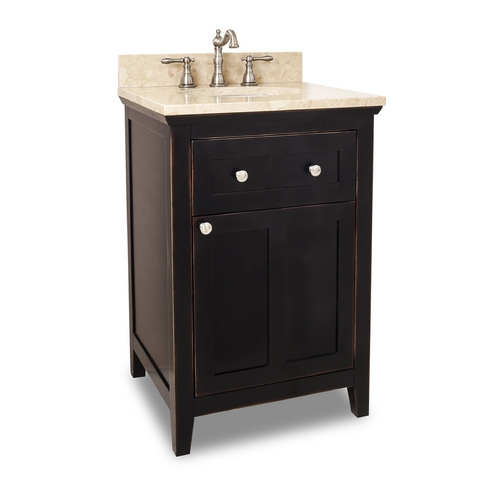 Hardware Resources Bathroom Vanity in Aged Black Finish - Pre Assembled Top and Bowl VAN093-24-T