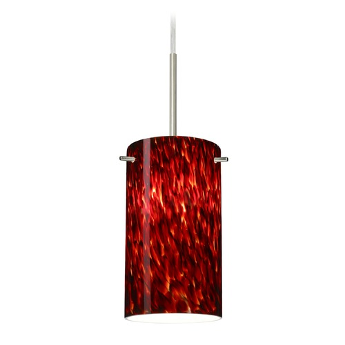 Besa Lighting Besa Lighting Stilo Satin Nickel LED Mini-Pendant Light with Cylindrical Shade 1BT-440441-LED-SN