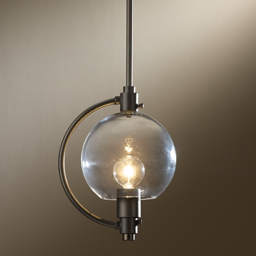 Hubbardton Forge Lighting Hubbardton Forge Lighting Pluto Dark Smoke Mini-Pendant Light with Globe Shade 18870-202-07-ZM436