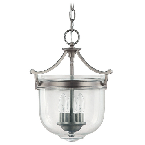 Capital Lighting Capital Lighting Antique Nickel Pendant Light with Bowl / Dome Shade 9411AN