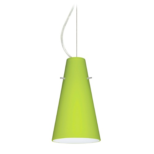 Besa Lighting Besa Lighting Cierro Satin Nickel LED Mini-Pendant Light with Conical Shade 1KX-412435-LED-SN