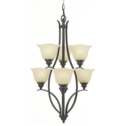 Home Solutions by Feiss Lighting Chandelier with Beige / Cream Glass in Grecian Bronze Finish F2051/3+3GBZ