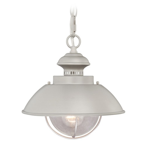 Vaxcel Lighting Seeded Glass Outdoor Hanging Light Brushed Nickel Vaxcel Lighting OD21518BN