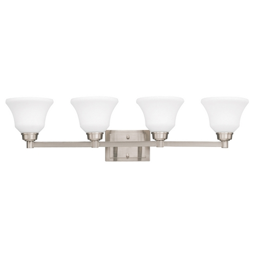 Kichler Lighting Kichler Bathroom Light with White Glass in Brushed Nickel Finish 5391NI