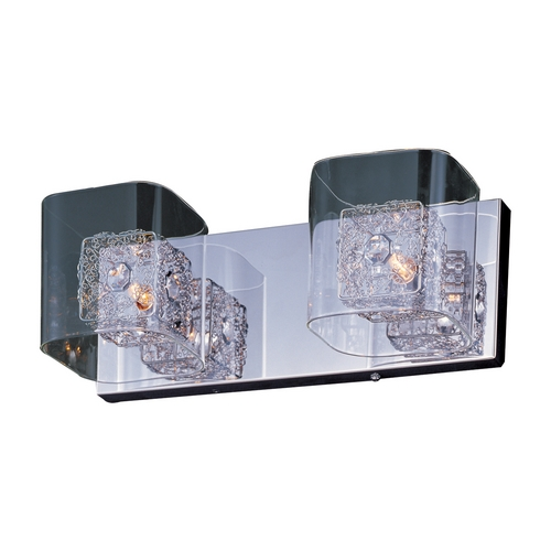 ET2 Lighting Modern Bathroom Light with Clear Glass in Polished Chrome Finish E22832-18PC