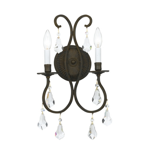 Crystorama Lighting Crystal Sconce Wall Light in English Bronze Finish 5012-EB-CL-MWP