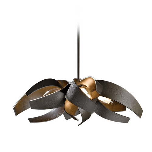 Hubbardton Forge Lighting Forged Iron Adjustable Pendant Light in Dark Smoke Finish 136500-07