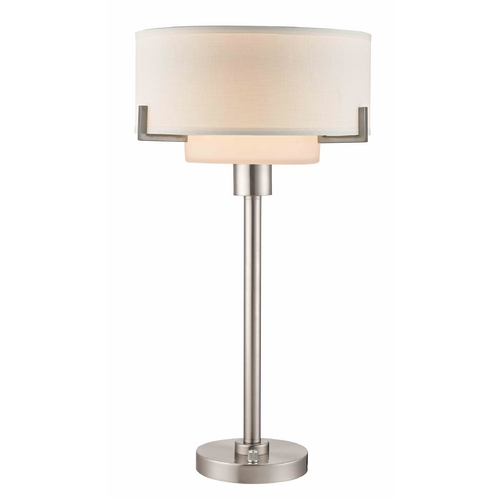 Design Classics Lighting Modern Table Lamp with White Drum Shade 7010-09