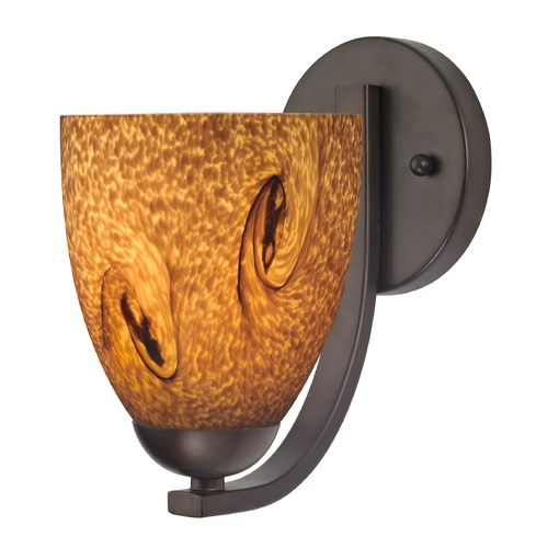 Design Classics Lighting Sconce with Brown Art Glass in Bronze Finish 585-220 GL1001MB