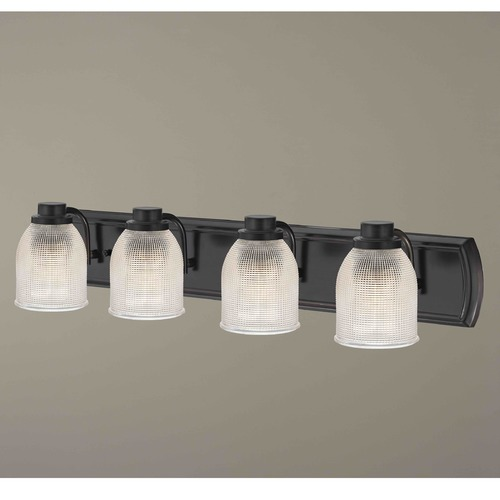 Design Classics Lighting 4-Light Bath Bar with Clear Prismatic Glass in Bronze Finish 1204-36 GL1058-FC