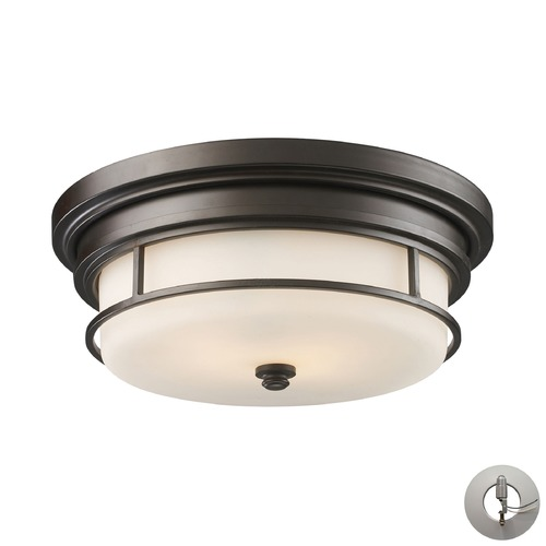 Elk Lighting Newfield Oiled Bronze Flushmount Light - Includes Recessed Adapter Kit 66254-2-LA