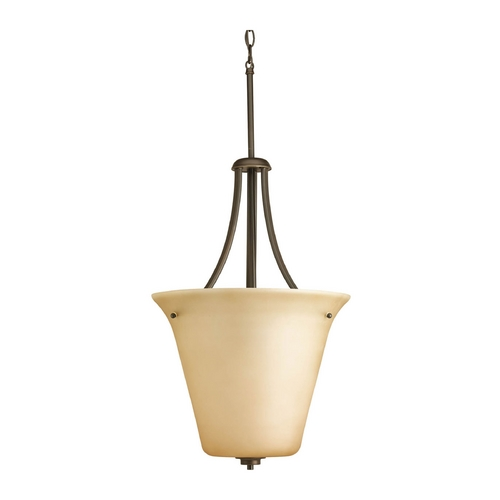 Progress Lighting Progress Pendant Light with Brown Glass in Antique Bronze Finish P3950-20