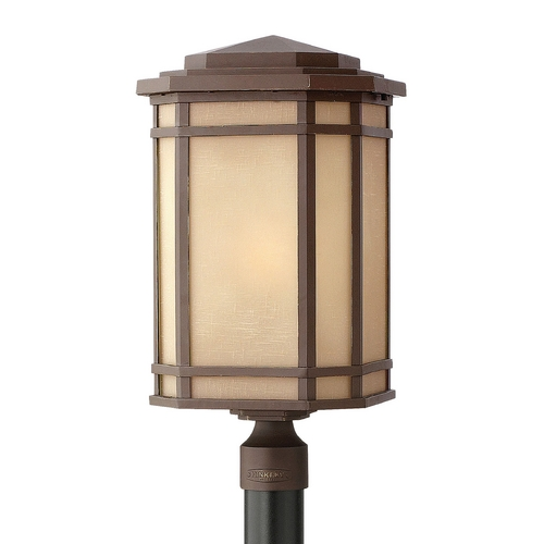 Hinkley Lighting Post Light with Amber Glass in Oil Rubbed Bronze Finish 1271OZ-GU24