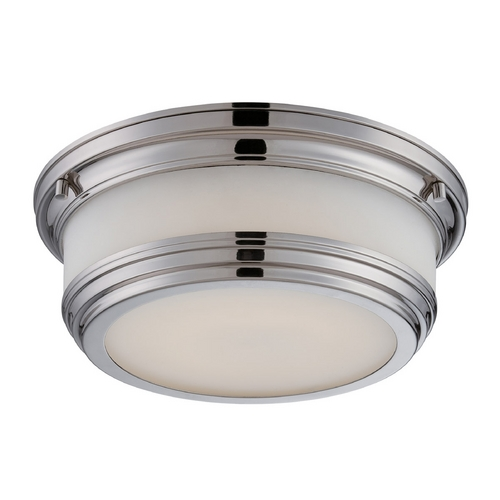 Nuvo Lighting LED Flushmount Light with White Glass in Polished Nickel Finish 62/324