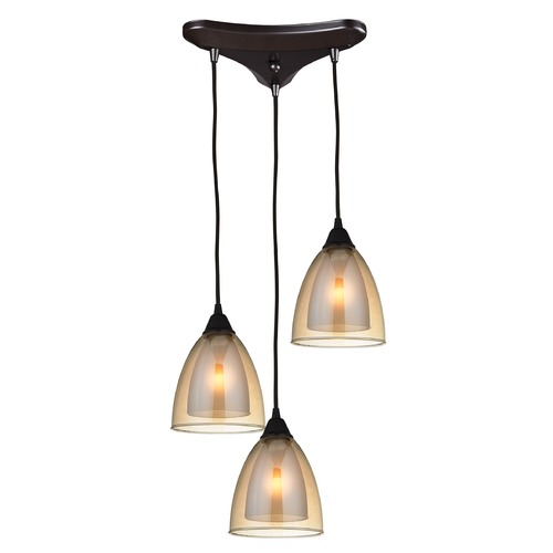 Elk Lighting Elk Lighting Layers Oil Rubbed Bronze Multi-Light Pendant with Bowl / Dome Shade 10474/3