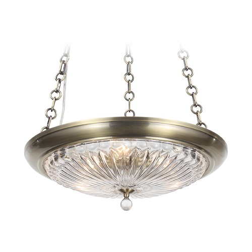 Crystorama Lighting Crystorama Lighting Celina Antique Brass Pendant Light with Bowl / Dome Shade 9943-AB
