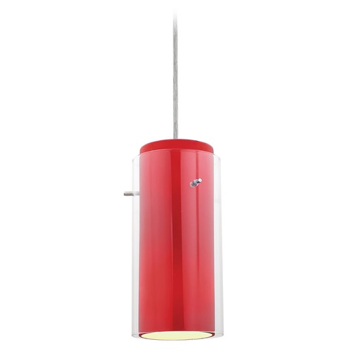 Access Lighting Access Lighting Glass`n Glass Cylinder Brushed Steel Mini-Pendant Light with Cylindrical Shade 28033-4C-BS/CLRD