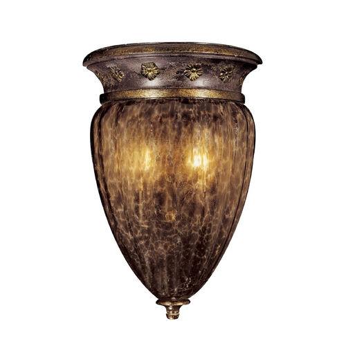 Metropolitan Lighting Sconce Wall Light with Brown Glass in Sanguesa Patina Finish N6081-194
