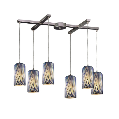 Elk Lighting Modern Multi-Light Pendant Light with Multi-Color Glass and 6-Lights 544-6MO