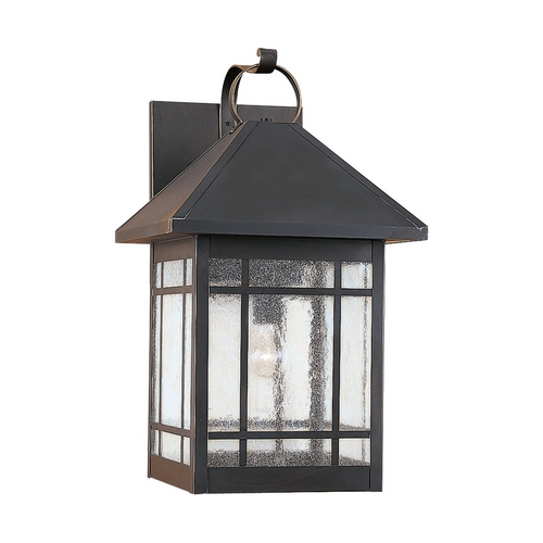 Sea Gull Lighting Outdoor Wall Light with Clear Glass in Antique Bronze Finish 85028-71