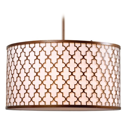 Kenroy Home Lighting Kenroy Home Lighting Tripoli Antique Gold Pendant Light with Drum Shade 93373AG