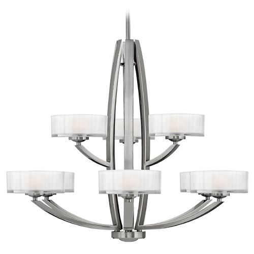 Hinkley Lighting Chandelier with White Glass in Brushed Nickel Finish 3878BN