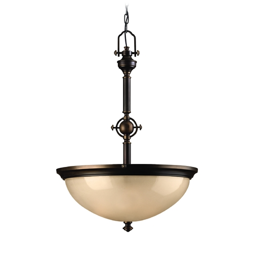 Hinkley Lighting Pendant Light with Amber Glass in Olde Bronze Finish 4162OB