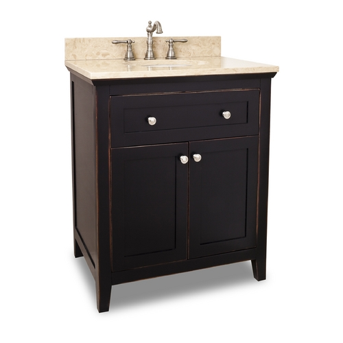 Hardware Resources Bathroom Vanity in Aged Black Finish - Pre Assembled Top and Bowl VAN093-30-T