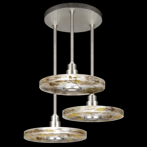 Fine Art Lamps Fine Art Lamps Crystal Bakehouse Silver Leaf Multi-Light Pendant with Drum Shade 823640-31ST