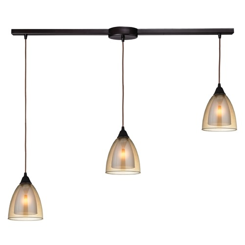 Elk Lighting Elk Lighting Layers Oil Rubbed Bronze Multi-Light Pendant with Bowl / Dome Shade 10474/3L