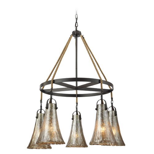 Elk Lighting Mercury Glass Chandelier Oil Rubbed Bronze Elk Lighting 10651/5CH