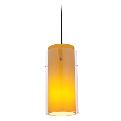 Access Lighting Access Lighting Glass`n Glass Cylinder Oil Rubbed Bronze Mini-Pendant Light with Cylindrical Shade 28033-4C-ORB/CLAM