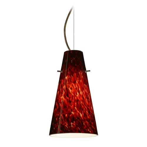Besa Lighting Besa Lighting Cierro Bronze LED Mini-Pendant Light with Conical Shade 1KX-412441-LED-BR