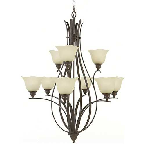 Home Solutions by Feiss Lighting Chandelier with Beige / Cream Glass in Grecian Bronze Finish F2052/6+3GBZ