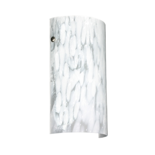 Besa Lighting Modern Sconce Wall Light with White Glass in Satin Nickel Finish 704219-SN