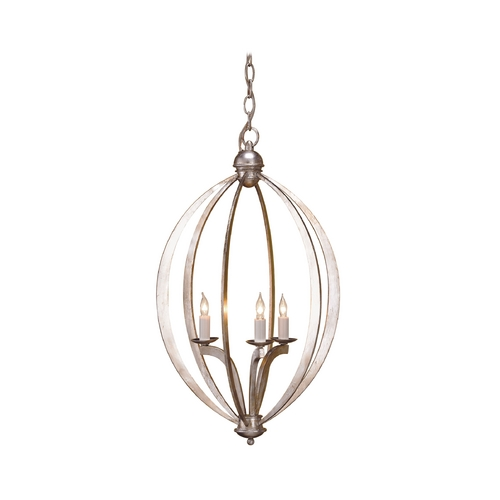 Currey and Company Lighting Modern Pendant Light in Contemporary Silver Leaf Finish 9482