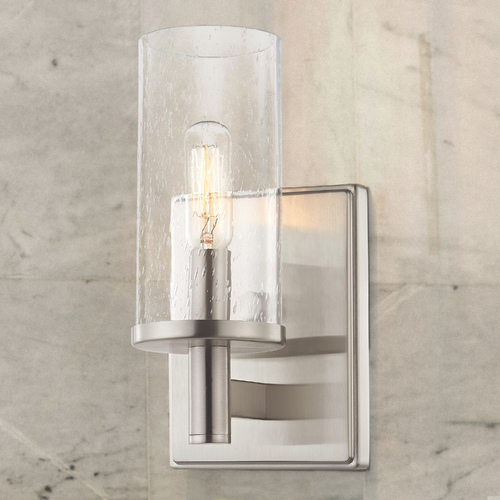 Design Classics Lighting Seeded Glass Sconce Satin Nickel 2951-09